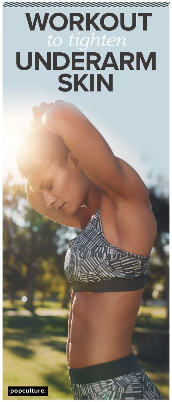 Underarm skin feeling a little fuller than normal? Then you'll love this quick and effective workout to get rid of loose and jiggly underarm skin. Popculture.com #underarmskin #flabbyarms #jigglyarms #bingoarms #armworkout #skinnyarms #workout #ffitness #armworkoutweights #athomeworkout