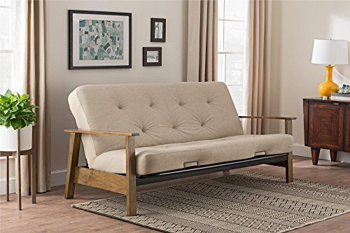Home Decorators Collection | DHP 2147329 Bergen Wood Arm Futon with 6 Coil Mattress Tan Linen -- Details can be found by clicking on the image. Note:It is Affiliate Link to Amazon. #MyFavouriteHomeDecoratorsCollection