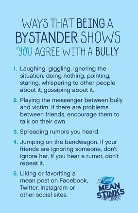 Printable Bullying Posters. How to stand up to bullies, what being a bystander means
