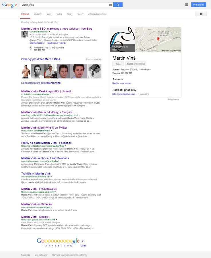 Optimalizace SERPu Googlu na vlastní jméno. Dobré pro online reputation management. Cestou jsou blogy, články, soc. sítě, katalogy, propojení Authorshipu atd.