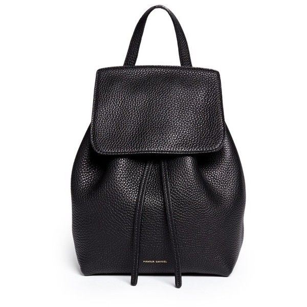 Mansur Gavriel Mini tumbled leather backpack (2.745 RON) ❤ liked on Polyvore featuring bags, backpacks, black, mansur gavriel, leather bags, leather daypack, leather holdall and backpacks bags