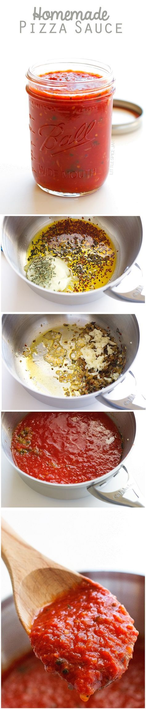 Homemade Pizza Sauce - Made with simple ingredients that are easy to find. This sauce freezes well too! #pizzasauce #tomatosauce #homemade | Littlespicejar.com