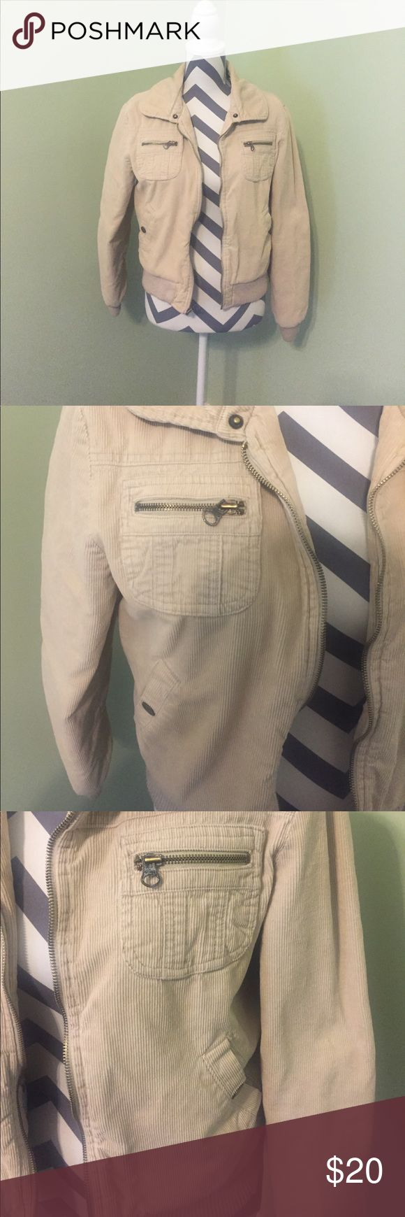 Aeropostale Beige Bomber Jacket - Large Aeropostale Beige Bomber Jacket...Size Large...Jacket Does Not Have Faux Fur Collar....Overall The Jacket Is In Good Shape....There Are Some Fuzzies Around The Waist....Floral Inside...Shell Is 100% Cotton...Lining Is 90% Polyester And 10% Cotton....Jacket Has Snap Button And Zipper Pockets.... Aeropostale Jackets & Coats Puffers