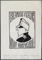 Klein Ervin: Ex libris. Svejk. Fametszet, Jelzett. / Svejk bookplate wood-engraving, Signed 9x14 cm