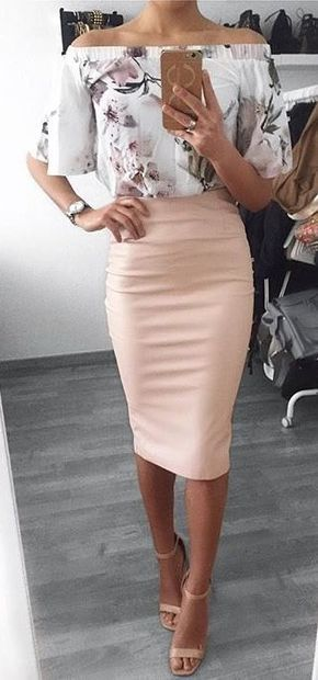 #spring #outfits White Floral Off The Shoulder Top + Pink Pencil Skirt