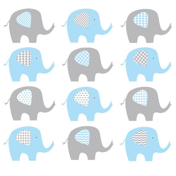 ELEPHANT CLIP ART    This elephant clip art in chevron, stripes, houndstooth, heart, gingham with blue and grey color makes a great for