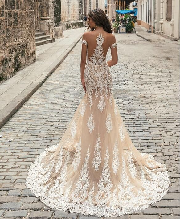 Discount 2018 Betra Illusion Cap Sleeves Lace A Line Wedding Dresses Tulle Applique Court Train Wedding Bridal Gowns Cheap Wedding Gowns Coloured Wedding Dresses From Wholesalefactory, $224.93| DHgate.Com