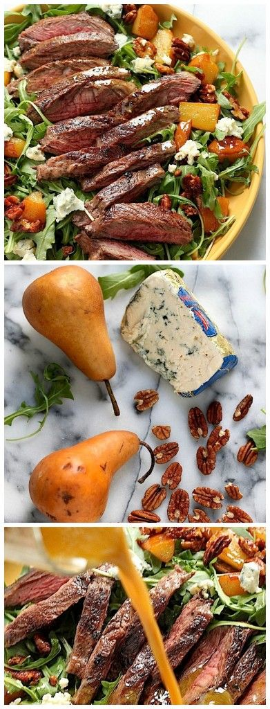 Arugula Skirt Steak Salad with Caramelized Pears, Pecans, and Gorgonzola - this salad is proof eating lighter doesn't have to be boring! So full of flavor!!!