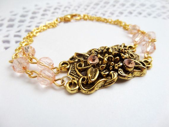 Gold Roses Filigree Bracelet with Rose Quartz Swarovski Rhinestones and Faceted Crystals Delicate Gift for Bridesmaids Maid of Honor Present