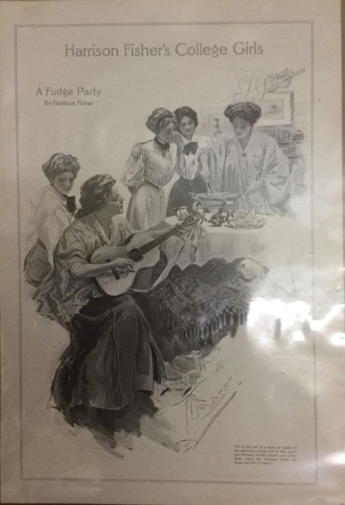 Harrison Fisher College Girls A Fudge Party Series Drawn For Ladies Home Journal