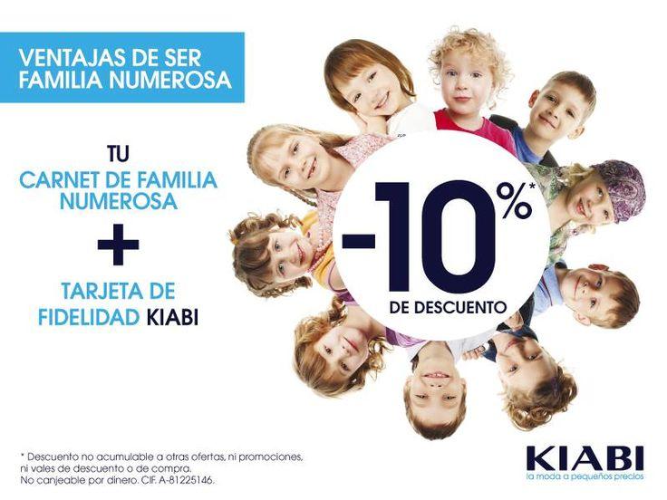 En Kiabi, te damos más ventajas por ser familia numerosa: consigue un 10% de dto con tu carnet de familia numerosa y tu tarjeta de fidelidad de Kiabi.