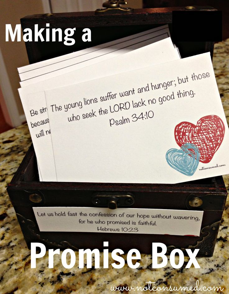 Promise box: so that we may never again forget HIS faithfulness. This is an excellent discipleship tool too. Use with your children so they can store in their heart Scripture for when tough times hit. They'll need these tools when they leave home.