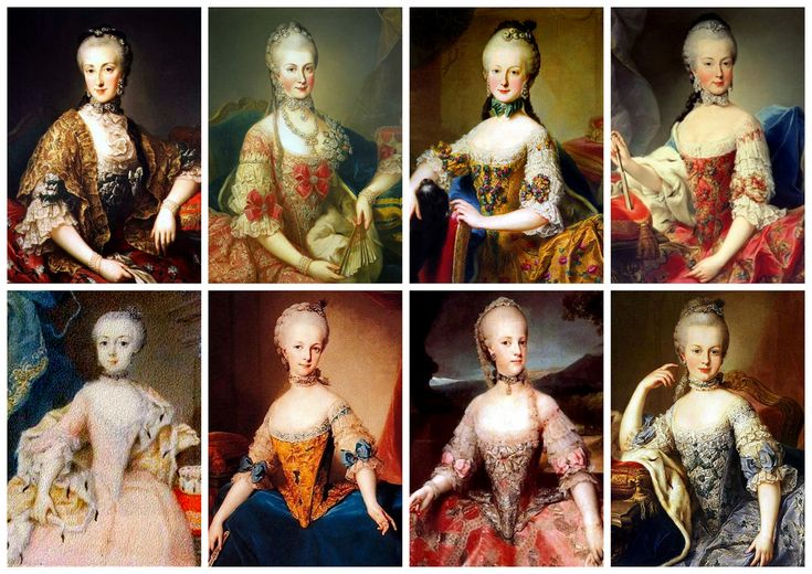 Archduchesses of Austria The 8 surviving daughters of Maria Theresa of Austria, most portraits believed to have been done by Martin van Mytens. Left to Right Top: Maria Mariana Anna (1738-1789), Maria Mimi Christina (1742-1798), Maria Elisabeth (1743-1808), Maria Amalia (1746-1804), Maria Joanna (1750-1762), Maria Josepha (1751-1767), Maria Carolina (1752-1814), Maria Antonia aka Marie Antoinette (1754-1793)  (via)