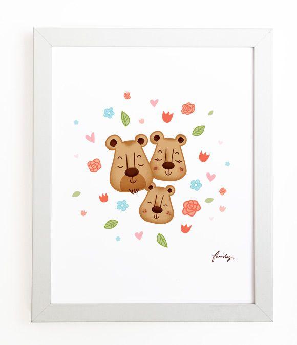 The Three Bears - Nursery Print