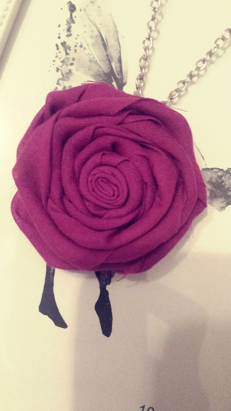 Purple cotton necklace. Handmade fabric flower. Perfect gift.  Unique jewellery.