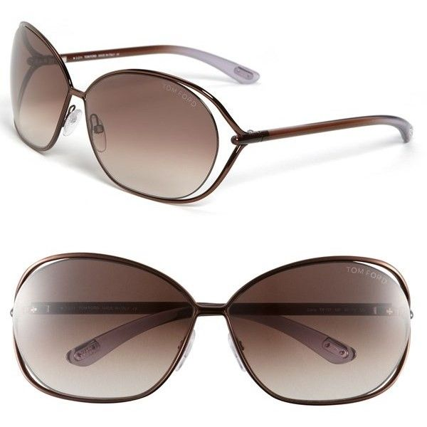 Tom Ford 'Carla' 66mm Oversized Round Metal Sunglasses ($405) ❤ liked on Polyvore featuring accessories, eyewear, sunglasses, round sunglasses, round metal sunglasses, oversized sunglasses, uv protection sunglasses and over sized sunglasses