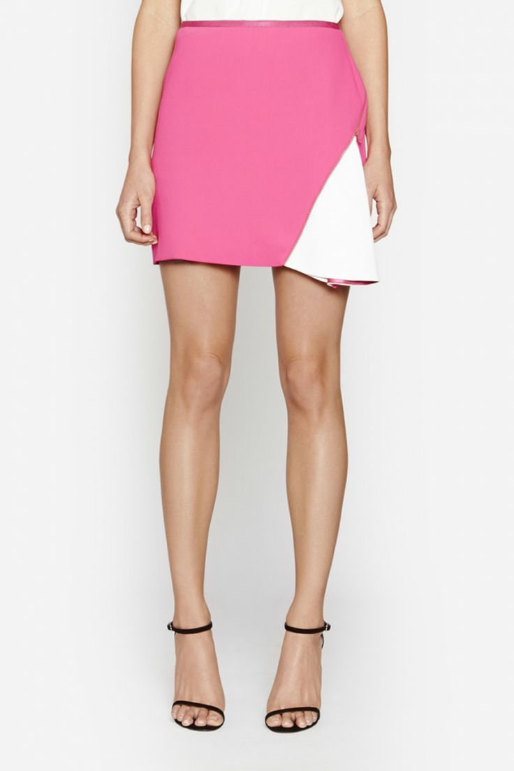 Camilla and Marc | CIRCUIT SKIRT  US$274.11 Bright mini skirt designed in a pink twill fabric with a matching zipper and exposed white panel. This piece features a slightly A-line silhouette, draped front panel and invisible zipper fastening.