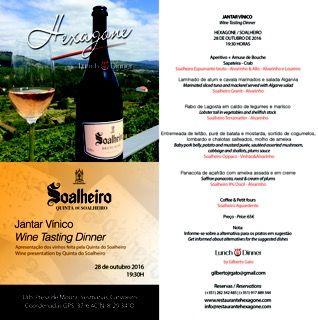 Wines presented by Quinta de Soalheiro and an outstanding menu at Restaurante Hexagone  http://www.mydestinationalgarve.com/events/jantar-vinico-gastronomico-soalheiro