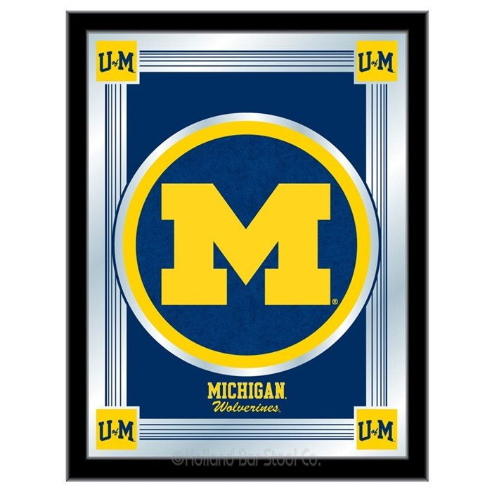 [[start tab]] Description The perfect way to show your University of Michigan Wolverines pride, our Logo Mirror displays the Wolverines symbols with a style that fits any setting. With it's simple but