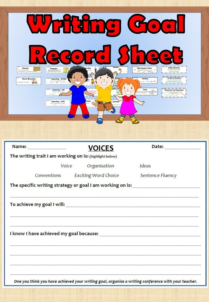 Writing Goal Record Sheet allows students to record the writing goals that they are working towards. http://designedbyteachers.com.au/marketplace/writing-goal-record-sheet/