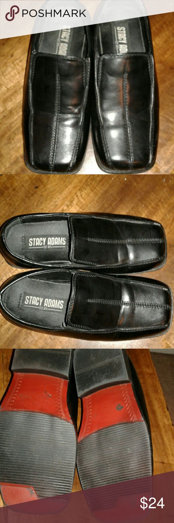 """Stacy Adams Boys Canton Bike toe Shoes A very gently used,looks almost brand new,dress bike toe slip on shoes.Please see bottom,to see they were hardly worn. Very nice and what a great price. Upper is man-made & linings are man made as well.sole is non leather.Great for any dress up occasion.size 12 mwidth. 7 1/8"""" heel to toe. Stacy Adams Shoes Dress Shoes"""