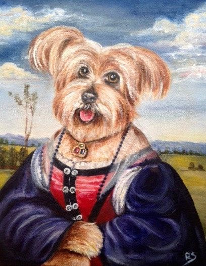 Custom pet portrait in costume. Pet portrait from photo. Dog painting in costume. Funny dog painting.Renaissance pet portrait. Pet Memorial. by pinkwisteriadesigns on Etsy