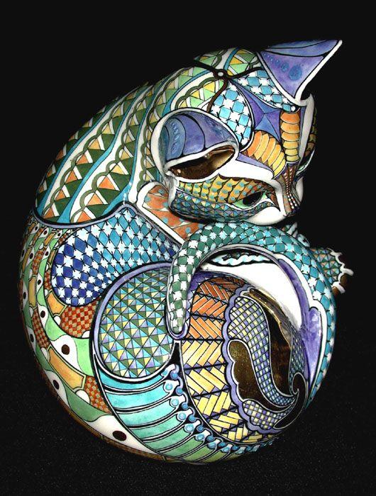 Дэвид Бернхэм Смит - Мастер Керамическая Исполнитель Gallery 3 - Kitten 2 - 18 x 14 x 12cm