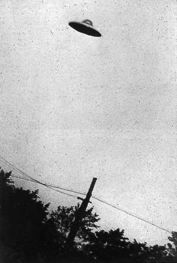 This grainy black and white image purports to show a UFO hovering over Passoria, New Jersey, in July, 1952