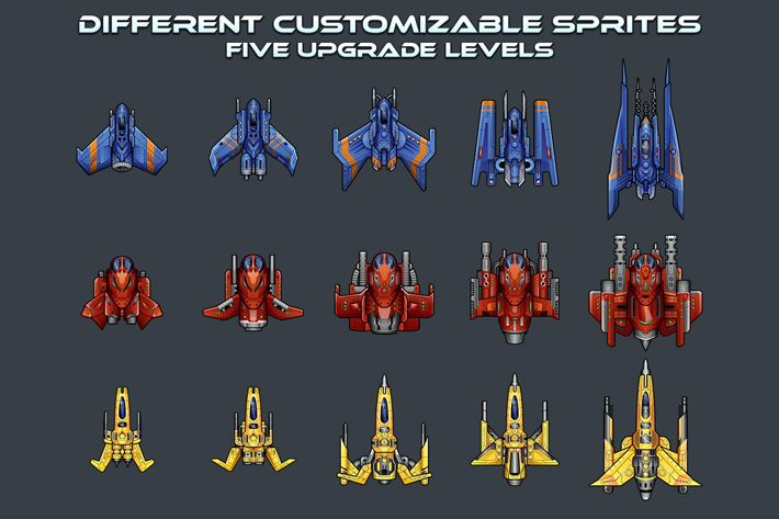 Spaceship 2D Sprites in 2020 (With images) | Free game ...