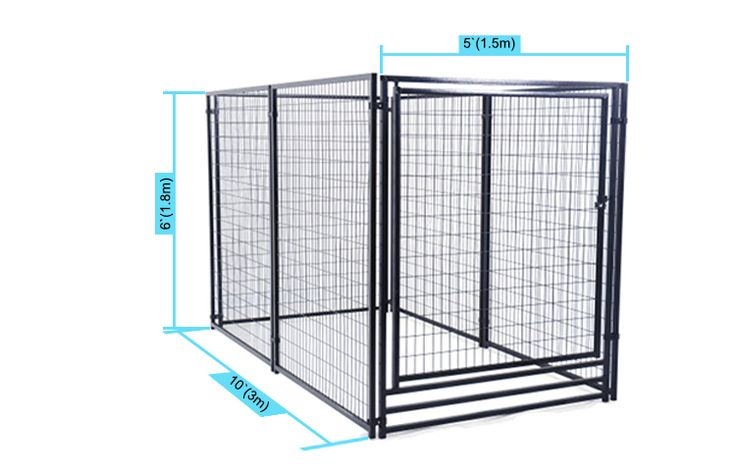 Model number:LMB5106 Material:Welded wire panels Size:5'x10'x6'(1.5x3x1.8m) Surface treatment:Powder coating black