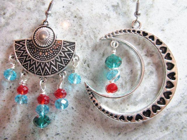 Mismatch Earrings, Crescent Moon and  Aztec Earrings, Asymmetrical Earrings by Wireandcolour on Etsy