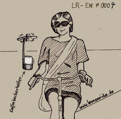 Drohnenaffäre mal anders: Der LemonRide-Kaffeehalter. Ohne Überschwappen, Sensorgesteuert immer in Griffweite. #Fahrrad #Kaffeebecherhalter #Accessoire #LemonRide #Erfindung #Drohne