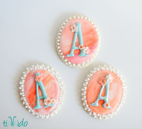 I used a lot of watercolor touches in the A is for Addalyn first birthday brunch. Even one edible version, watercolor painted sugar cookies. I didn't use actual watercolor paints on them, naturally. I just mimicked the look and the technique with food coloring.