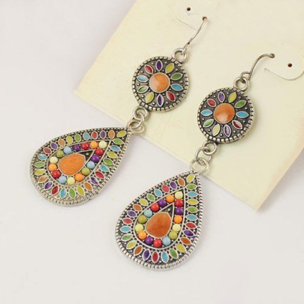 Pair of Bohemian Glazing Water Drop Pendant Earrings For Women, COLORMIX in Earrings | DressLily.com