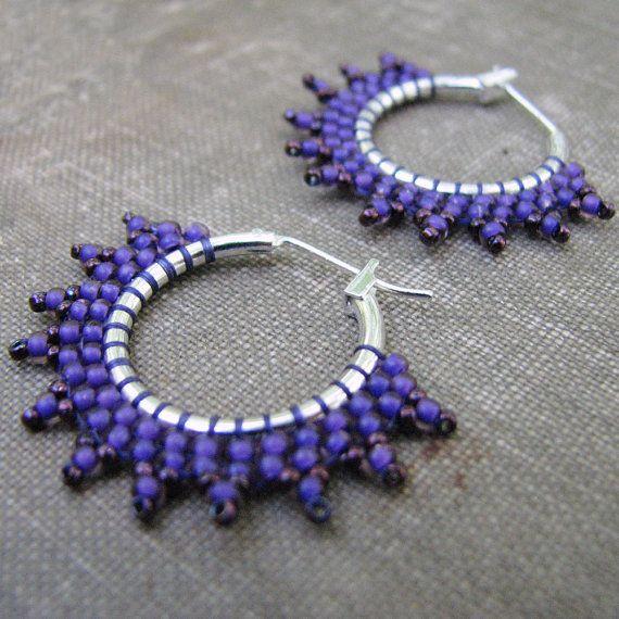 Purple Hoop Earrings Seed Bead Hoop Earrings Boho by windyriver, $15.00