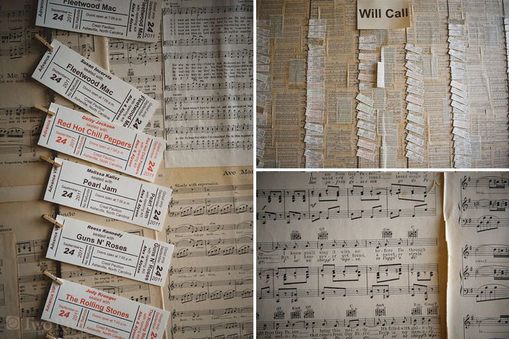 music inspired table seating display - board is covered with sheet music and escort cards are concert tickets