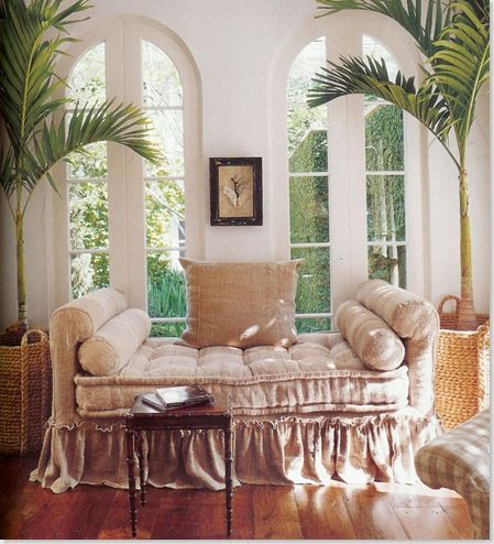 quilted linen daybed for relaxing under the palm plants ...