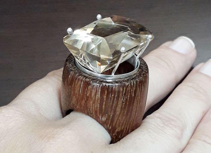 huge smoky quartz and sucupira wood ring by kingwoodbrasil