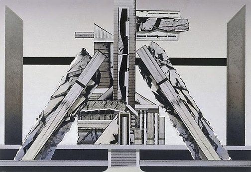 West Melbourne: a structure for Boullee and Ledoux (design for National Australia Bank tapestry), (1979) by Jan Senbergs :: The Collection :: Art Gallery NSW