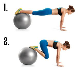 Stability ball jackknives hit the lower abs hard, help demolish the POOCH underneath your belly button, and build upper body strength.