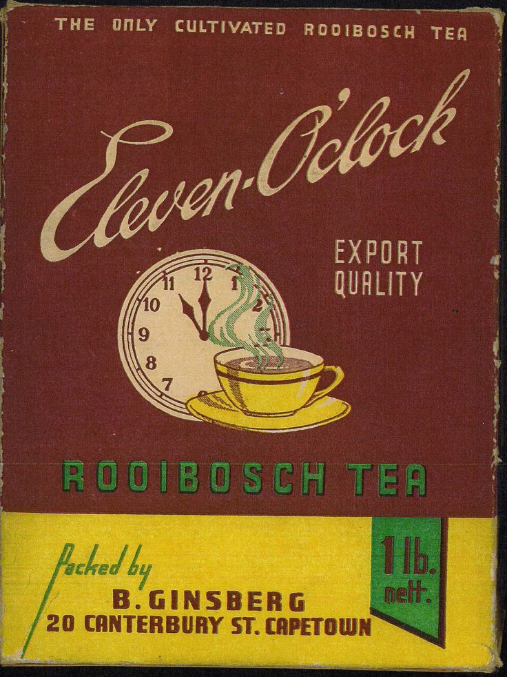 """1955: The Ginsberg's family """"Eleven O'Clock"""" brand, which had originally been conceived by Benjamin several decades earlier, flourished as South Africa's biggest selling Rooibos Tea. Henry Charles registers for the first time overseas trademarks for Rooibos tea in order to sell worldwide."""