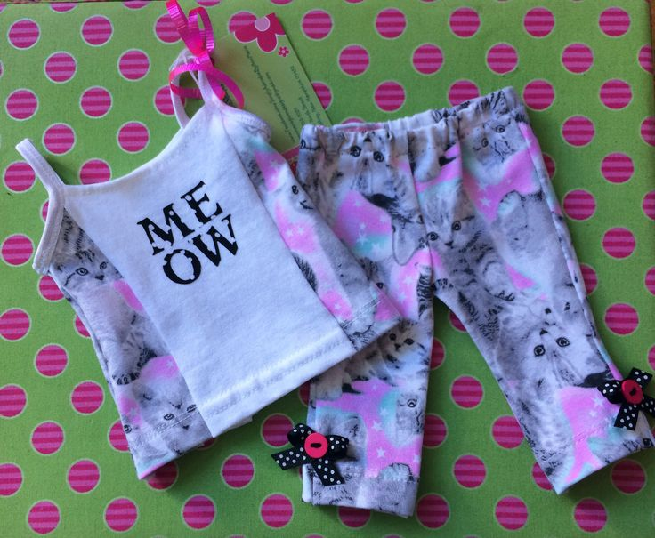 """An adorable outfit for a doll on the go! This handmade ensemble is the cat's meow and we're not kitten! Fits 18"""" dolls"""
