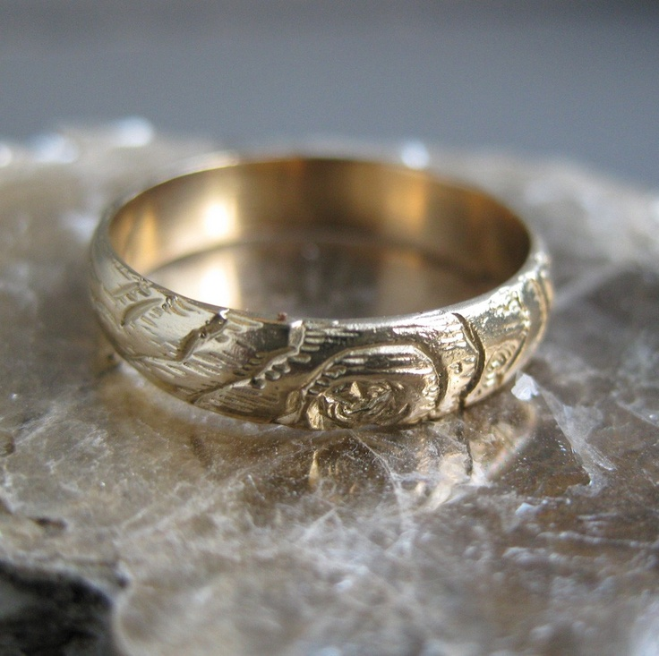 gold woodgrain ring 4mm PLYWOOD 14kt yellow MADE to ORDER. $375.00, via Etsy.