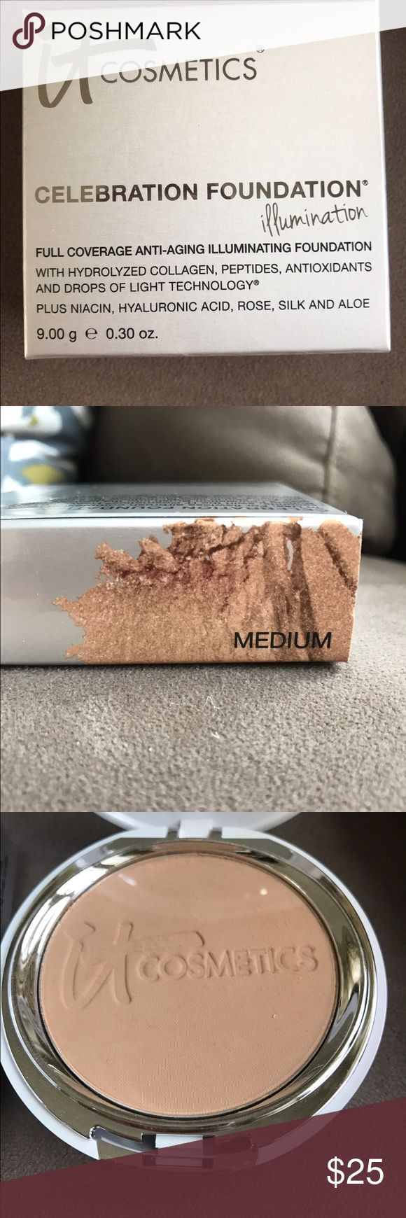 IT cosmetics Celebration foundation in Medium. Brand new never used IT cosmetics celebration foundation in Medium shade. I adore this product! Great coverage, flawless finish. It Cosmetics Makeup Foundation