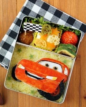 CARS Lightning McQueen Bento Lunch (Red & White Surimi Fish Cake, Nori Seaweed, Fried Rice)|キャラ弁