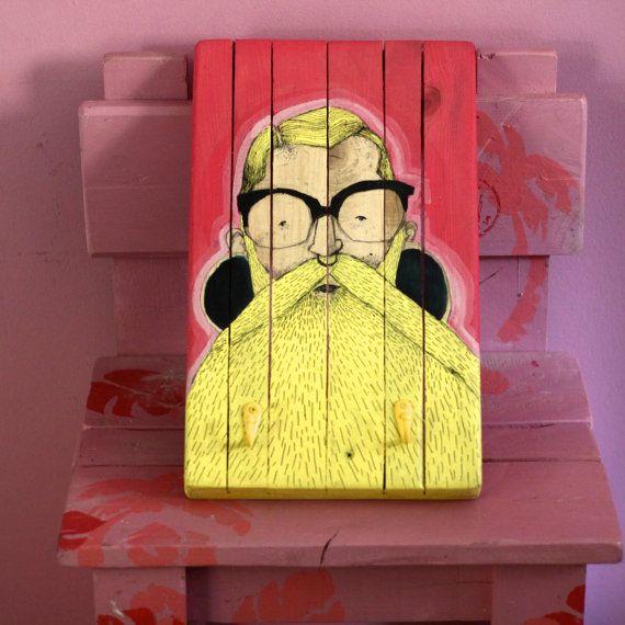 Bearded man Frank hand painted Illustrated wooden by littlerocksPK