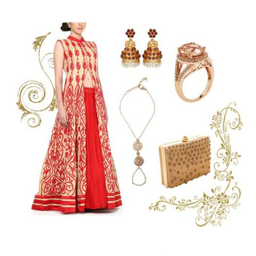 Wedding outfit option for female guests including Taj Lila Hand Chain by Sannam Chopra, Halter Tunic Sharara by Mandira Wirk, Alluring Oval Cut Ring by Strand of Silk and Classic Golden Clutch by Kaleido.