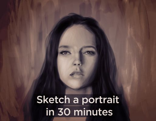 In this tutorial I demonstrate how you can quickly sketch a female portrait.  I explain my practice technique, how to focus on important features and how using a timer and reference develops your skills with consistent practice. Download includes: - 35 min 1920 x 1080 HD tutorial video + audio - Full res .jpg of demo artwork - Sample brushes used in this tutorial
