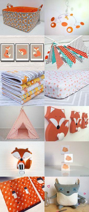 Orange fall gender neutral nursery, Woodland, Foxes