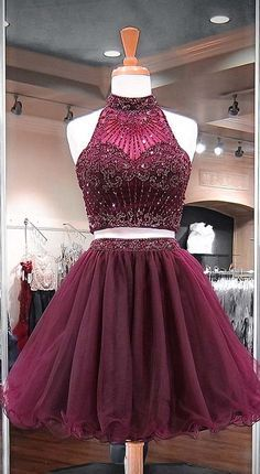 2018 Burgundy Two Piece Homecoming Dresses Beadings Stylish Short Tulle Prom Party Gowns